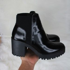 Zara Patent Leather Block Heel Ankle Boots 6.5